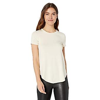 Marca - Daily Ritual Women's Supersoft Terry Short-Sleeve Shirt com Shirttail Hem, Cream, Medium