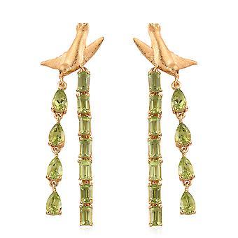 AA Peridot Drop Boucles d'oreilles Dangle Femmes Sterling Argent 14ct Or Plaqué, 9 Ct TJC