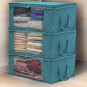 Folding Fabric Storage Box - Dirty Clothes Collecting Case Non-woven Fabric With Zipper Moisture-proof Toys Quilt Storage Box
