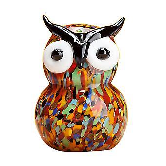 Owl Figurine Glass Home Ornament Multicolor