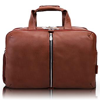 """18904, U Series, Avondale 22"""" Leather, Triple Compartment, Carry-All, Travel, Laptop Duffel - Brown"""