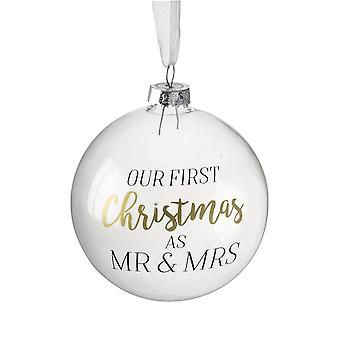 8cm Single Clear Glass Gift Bauble 'Our First Christmas als Mr & Mrs'