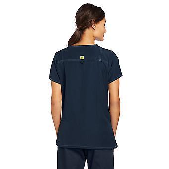 WonderWink Women's Scrubs Four Way Stretch Sporty V-Neck Top, Navy, Medium