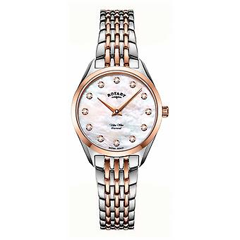 Rotary Ultra Slim Ladies Two Tone Mother of pearl Bracelet LB08012/41/D Watch