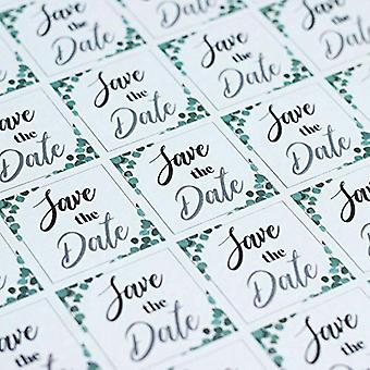 Eucalyptus Square Save the Date Stickers Single Sheet of 35 Wedding