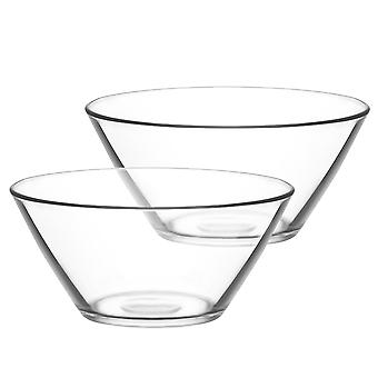 LAV Vega Glass Salad Bowl - 2.2 Litres - Pack of 2 Mixing Bowls / Serving Bowls for Pasta / Popcorn