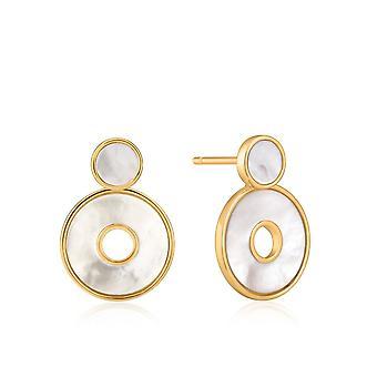 Ania Haie Hidden Gem Shiny Gold Mother Of Pearl Disc Ear Jackets E022-03G