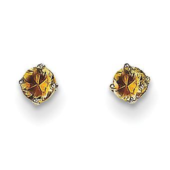 14k White Gold Post Örhängen 3mm Citrine Stud Örhängen Mäter 3x3mm breda smycken gåvor för kvinnor