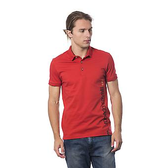 Roberto Cavalli Sport Hot Red Printed Polo T-shirt