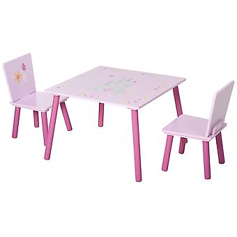 HOMCOM 3-Piece Kids Castle & Butterfly Chair Table Set Home Furniture Tea Party Playtime Pretty Fun Gift 3-8 Years Pink