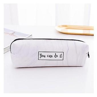 Pencil Case Marble Pattern Leather Pen Bag/ Pencil Box/ Pouch For Stationery