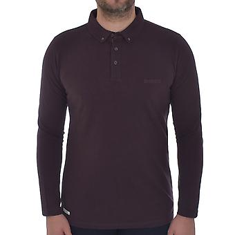 Lambretta Mens Pique Long Sleeve Smart Casual Retro Polo Shirt Top - Brown
