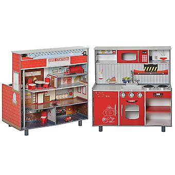 HOMCOM Wooden 2 in 1 Kids Kitchen Playset Dollshouse Multifuction Pretend Role Play Toy w/ Realistic Function Cooking Set for Girls Boys Red