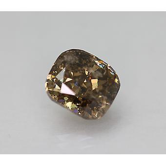 Cert 3.29 Carat Vivid Brown SI3 Cushion Enhanced Natural Diamond 8.8x7.98mm 2EX