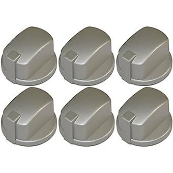 Indesit Compatible Oven Cooker Hob Control Knob Inox Pack of 6