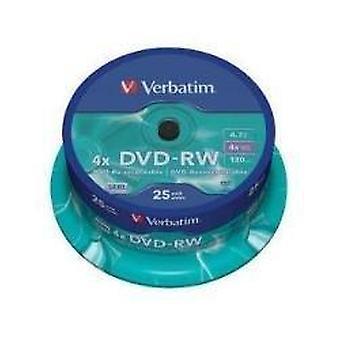 Verbatim 43639 4.7gb dvd-rw - husillo 25 pack