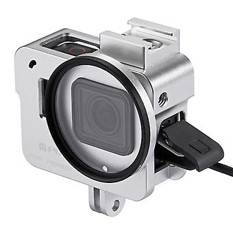 PULUZ Housing Shell CNC Aluminum Alloy Protective Cage with 52mm UV Lens for GoPro HERO(2018) /7 Black /6 /5(Silver)