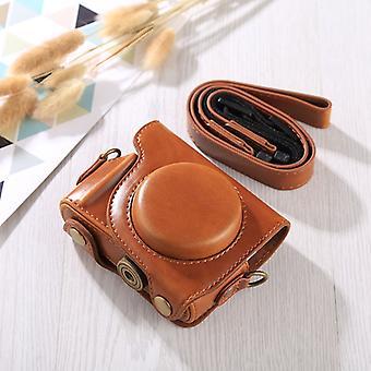 Full Body Camera PU piele Caz Bag cu curea pentru Canon G9X / G9X II (Brown)