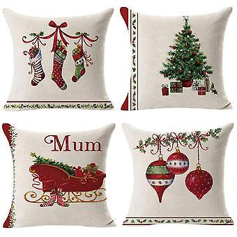 أربع قضايا وسادة طباعة عيد الميلاد مربع
