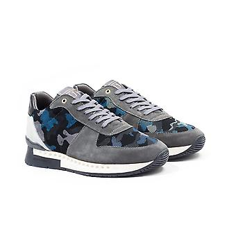 Unlike Humans Surge Runner Particle Camo Trainers - Grey & Light Blue