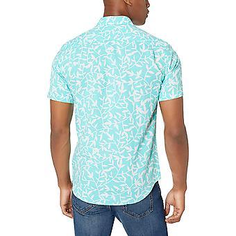 Essentials Men's Slim-Fit Short-Sleeve Leinen Baumwollhemd