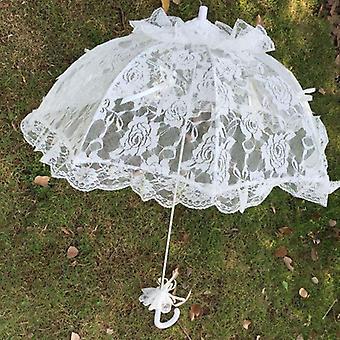 Bridal encaje hueco paraguas boda decoración foto Props rosa mango largo