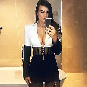 Sehen Sie durch Blazer Frauen schwarz Patchwork Jacke