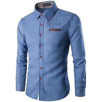 Mænd's Casual Slim Fit, Denim lange ærmer Jeans Shirt, Smart Mænd Tøj