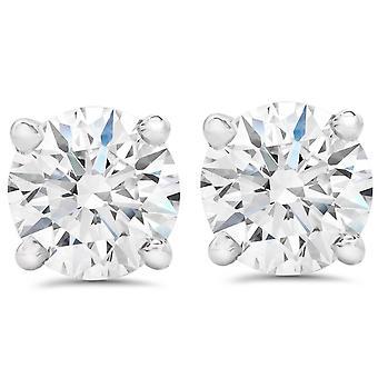 SI1 2.56Ct T.W. Lab dyrket sertifisert diamant skrue tilbake 14k hvitt gull studs