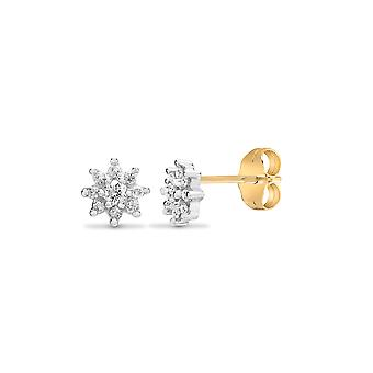 Jewelco Londen dames Solid 9ct Yellow Gold cluster set ronde H I1 0,25 Ct Diamond cluster Stud Earrings