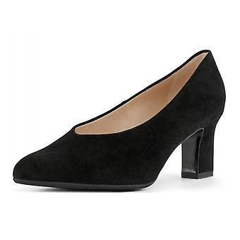 Peter Kaiser Mahirella Classic Mid Heel Court Shoes In Black Suede