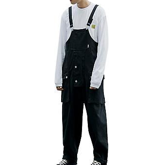 Suspender Jumpsuit, Loose Straight Pants, Men Pocket Bib Casual Trousers