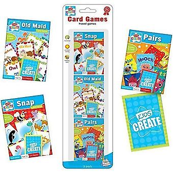Satz von 3 Packungen Kinder verschiedene klassische Kartenspiele Snap Paar alte Magd