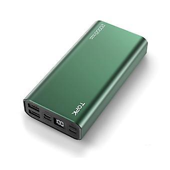 TOPK 20.000mAh Aluminum Power Bank External - Dual Port Emergency Battery LED Display Battery Charger Charger Green