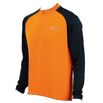 Eigo Tempest Mens Long Sleeve Short Zip Cycling Jersey Vivid Orange / Black