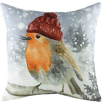 Evans Lichfield Snowy Robin Winter Cushion Cover