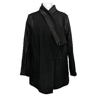 DG2 af Diane Gilman Women's Plus Knit Shawl Collar Jacket Black 725-486