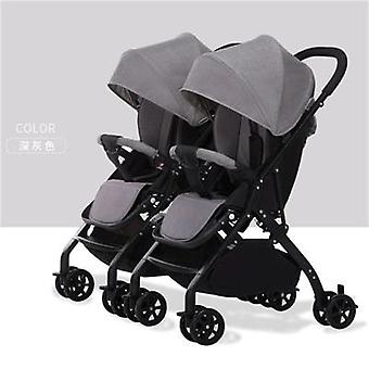 Twin Baby Stroller, Lightweight Folding, Can Sit, Reclining, Detachable Trolley