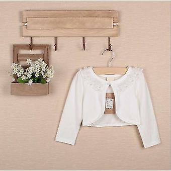 Batoľa dievčatá s dlhým rukávom Čipka kvetiny vrchné oblečenie Cardigan Ivory 100cm