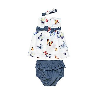 Alouette Girls' Blouse Set With Cross Back And Panties And Ribbon
