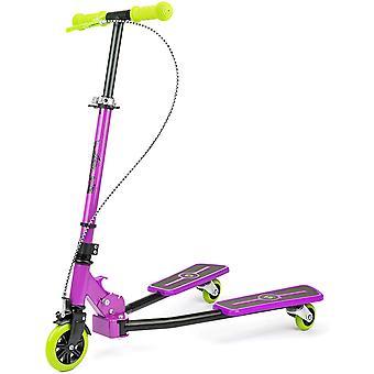 Xootz Kids Y Flicker Scissor Scooter Folding 3 Wheel Tri Drifter Scooter with Adjustable Handlebars - Purple/Green