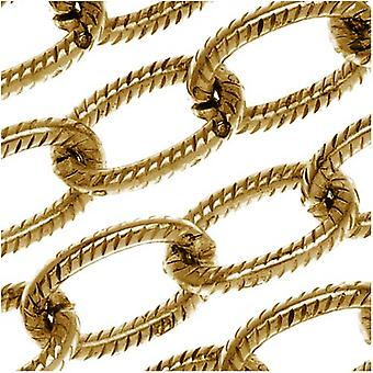 Nunn Design Antiqued Gold Plated Textured Cable Chain 9mm, by the Foot