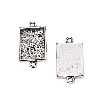 Nunn Design Antiqued Silver Plated Bezel Pendant Rectangle Link 14x10mm