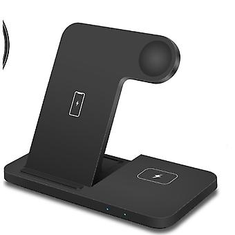 Black wireless charger for iPhone 12 11 XS XR X Samsung S21 S20 three-in-one charging station
