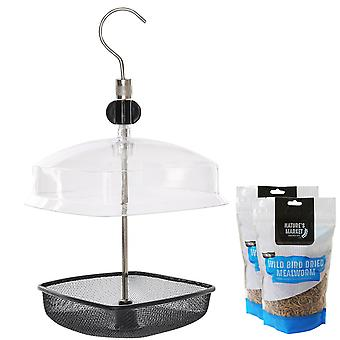 1 x Simply Direct Metal Mealworm Wild Bird Tray Feeder and Plastic Canopy with 160g Bag of Meal Worm Feed
