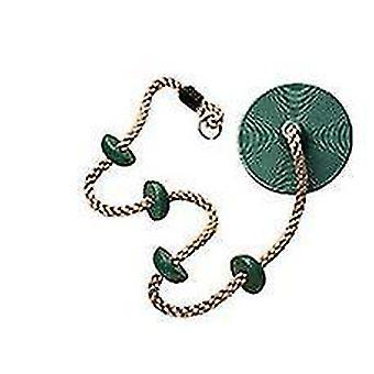 Swing klimmen touw voor kinderen, klimmen touw met platforms disc swing touw (groen)