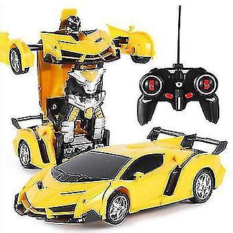 Télécommande de déformation robot de police voiture de contrôle à distance jouet enfants charge jouet (Jaune)