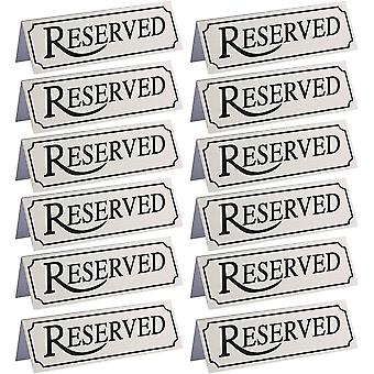 Reserved metal table tent sign (12-pack) - 12 x 4 x 3 cm