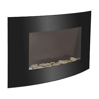 HOMCOM LARGE LED CURVED GLASS ELECTRIC WALL MOUNTED FIRE PLACE FIREPLACE 7 COLOUR SIDE LIGHTs SLIMLINE