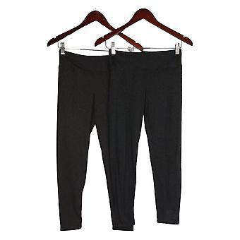 Cuddl Duds Leggings Flexwear Beskåret Sæt af 2 Sort A373534